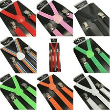 10 Colors Slim Skinny Thin Clip-on Suspenders Elastic Y-Shape Adjustable Braces~