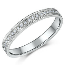 3mm 9ct White Gold .10ct Diamond & Milgrain Wedding  Ring Band