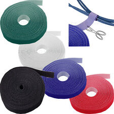 """Reusable Velcro Cable Ties Roll Tapes Wraps Straps 3/4"""" Inch Hook & Loop 5M 15ft"""