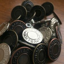 20MM NO SEW HAMMER ON DENIM / JEAN BUTTONS X 10. CHOOSE SILVER, BRONZE OR COPPER