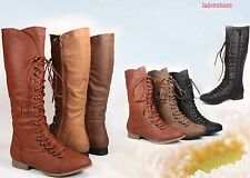 Cute Zipper Round Toe Military Lace Up Mid-Calf  Knee  High Boot NEW All Size