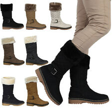 4H WOMENS QUILTED LADIES BUCKLE WINTER GRIP SOLE FUR TRIM BOOTS SHOES SIZE 5-10