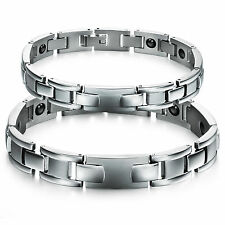 New Stainless Steel Couple Bangle Magnetic Wristband Bracelets Love Gifts 3243