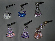 Purse Dangle Rhinestones Cell Phone Charm Earphone Cap Dust Plug, Ship from U.S.