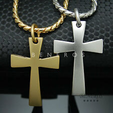 Simple Cross Pendant Chain Necklace Gold Silver Plated Mens HipHop Biker Jewelry
