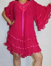Hippie Gauze Crochet Ruffle Beach Gypsy Mexican Mini Dress Blouson One Size
