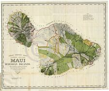 1906 LARGE DETAILED WALL MAP MAUI HAWAII ISLAND