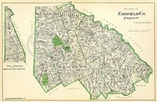 1893 HISTORICAL MAP FAIRFIELD COUNTY CONNECTICUT CT