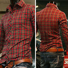 Fashion Mens Luxury Casual Slim Fit Stylish Dress Shirts Long sleeve Plaid Shirt