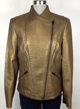 Kenneth Cole NWT Gold Faux Leather Jacket with Asymmetrical Zipper, size M