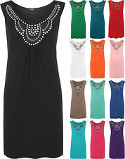 New Ladies Sleeveless Long Stud Top Womens Plus Size Stretch Scoop Neck 12 - 26