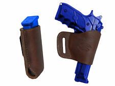 Barsony Brown Leather Yaqui Gun Holster w/Mag Pouch for Taurus Full Size 9mm 40
