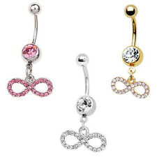 Infinity Navel Belly Button Ring CZ Dangle 14G FREE Retainer Gift Pink Gold