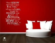 Jeremiah 29:11 For I Know The Plans Wall Decal Quote - Vinyl Wall Sticker Art