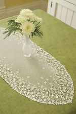 """Heritage Lace Blossom Runner 12"""" x 30"""" - Colors: Ecru and White"""