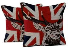 Reindeer Union Jack Christmas Chenille Cushion Covers or Filled Cushions