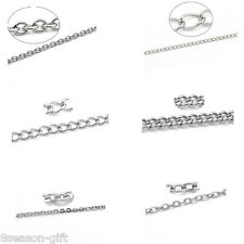 10M Stainlesss Steel Link-Opened Curb Chains Findings Silver Tone M1143