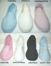 WOMENS LADIES TERRY CLOSED TOE HOUSE SLIPPER PINK BLACK BLUE MINT IVORY S M L XL