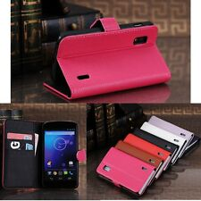 Deluxe Flip Leather Smart  Wallet Stand ID Case Cover for Google Nexus 4 LG E960