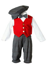 Boys Holiday Knickers with a Red Velvet Vest, Charcoal Pants / Bow Tie / and Hat