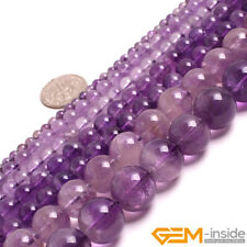 Natural Light Purple Amethyst Crystal Jewelry Making Round Loose Beads 15""