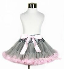Grey Light Pink Girl Party Pageant Pettiskirt Skirt Dance Petti Tutu Dress 1-8Y