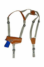 NEW Barsony Horizontal Tan Leather Shoulder Holster for Colt, Browning Full Size
