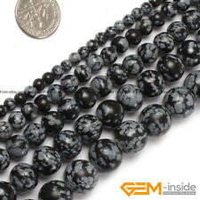 "Natural Snowflake Obsidian Gemstone Round Beads Strand 15"" 4mm 6mm 8mm 10mm 12mm"