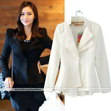 Vogue Womens OL Slim Suit One Button Casual Blazer Swallowtail Tops Jacket Coat