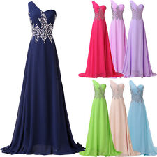 Beaded Long Formal Bridesmaid Ball Gown Evening Prom Dresses 8 10 12 14 16 18 20