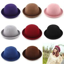 1pc Women Lady Solid Wool Roll up Cap Fold Brim Bowler Top Hat Cloche Billycock