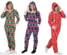 ADULT NOVELTY FESTIVE CRIMBO CHRISTMAS HOODED FLEECE ONESIE XMAS ONE PIECE HOODY