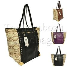 Authentic LYDC Faux Leather Snake Skin Print Studded Shoulder Bag Hobo Slough