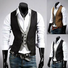 Morden Men's Fake Two Top Designed Casual Slim Fit Skinny Dress Vest Waistcoat