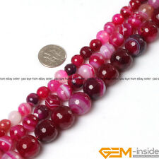 Faceted Round Banded Plum Agate Jewelry Making Loose gemstone beads strand 15""