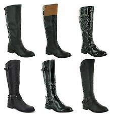 Womens Ladies Flat Low Heel Riding Biker Knee Calf High Boots Shoes UK Size 3-8