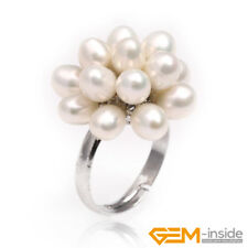 5-6mm Freshwater Pearl With Crystal White Gold Plated Ring Adjustable Size