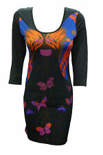 Womens Ladies New Butterfly Celebrity Style Bodycon Party Dress (Sizes 8 - 14)