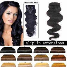 """Body Wavy Clip in Human Hair Extensions Full Head ,100g 12""""14""""16""""20""""22""""24"""" H3"""