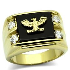 MEN'S 14K GOLD GP BLACK ONYX AMERICAN EAGLE CZ SIGNET STAINLESS STEEL RING