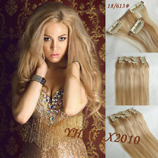"""Clip in Remy Hair Extensions 100% Human Hair 14""""-30"""" Mixed Brown blonde #18/613"""