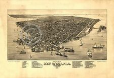 1884 LARGE PANORAMIC BIRD'S EYE MAP KEY WEST FLORIDA Largest Sizes