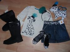 GIRLS GYMBOREE 4, 5, 6, 7, 8 ,10 SHIRT, SKORT, HEADBAND GLITTER FANCY DALMATIANS