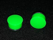"""Brand New Acrylic Single Flared Solid Neon Green Plugs.Sizes ( 6 g -- 1"""" inch )"""