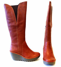 FLY LONDON YIND COGNAC BROWN SMOOTH LEATHER PLATFORM WEDGE KNEE HIGH BOOT NEW