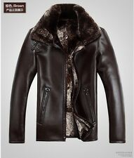 HOT SALE Men's Genuine Sheepskin Leather Jackets Trench Coats Winter Warm Parka