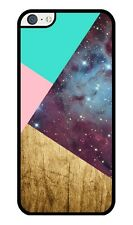 Wood Pink Turquoise and Galaxy Geometric Pattern Rubber iPhone 5C case
