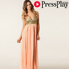 Celeb Style Sequin Bustier Strapless Maxi Dress Pink Hot Fashion BN (S M L)