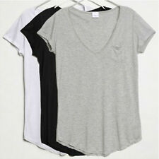 New Women Sexy V-Neck Short Sleeve Loose Modal Trend T-shirt Blouse Tops 3Colors