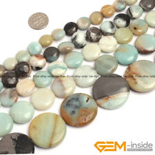 Natural Colorful Amazonite Gemstone Coin Beads For Jewelry Making 12mm 14mm 16mm